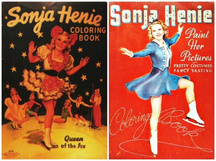 Vintage Sonja Henie Coloring Books covers illustration