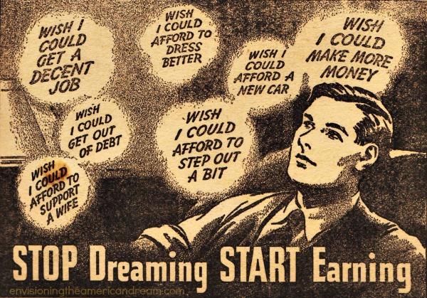 vintage illustration man dreaming of Jobs 1930s
