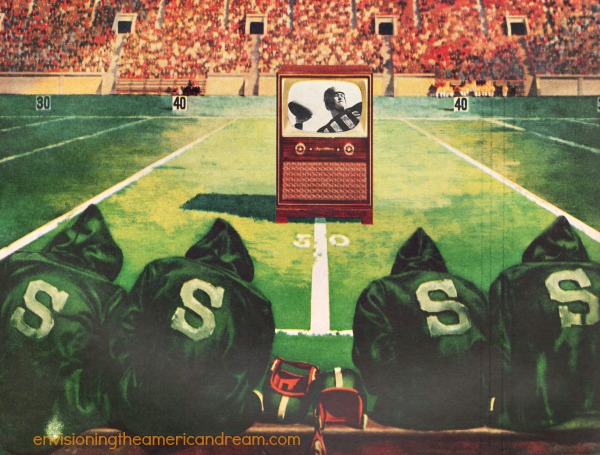 vintage illustration football players watching TV on field 1950s