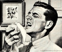vintage illustration Man sneezing 1950s