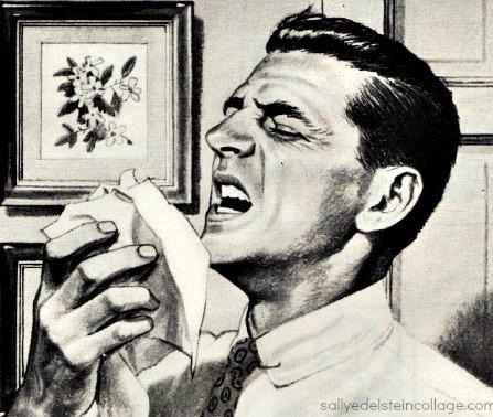 vintage illustration Man sneezing 1950s