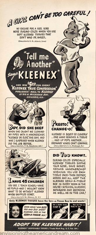 Vintage Kleenex ad 1940