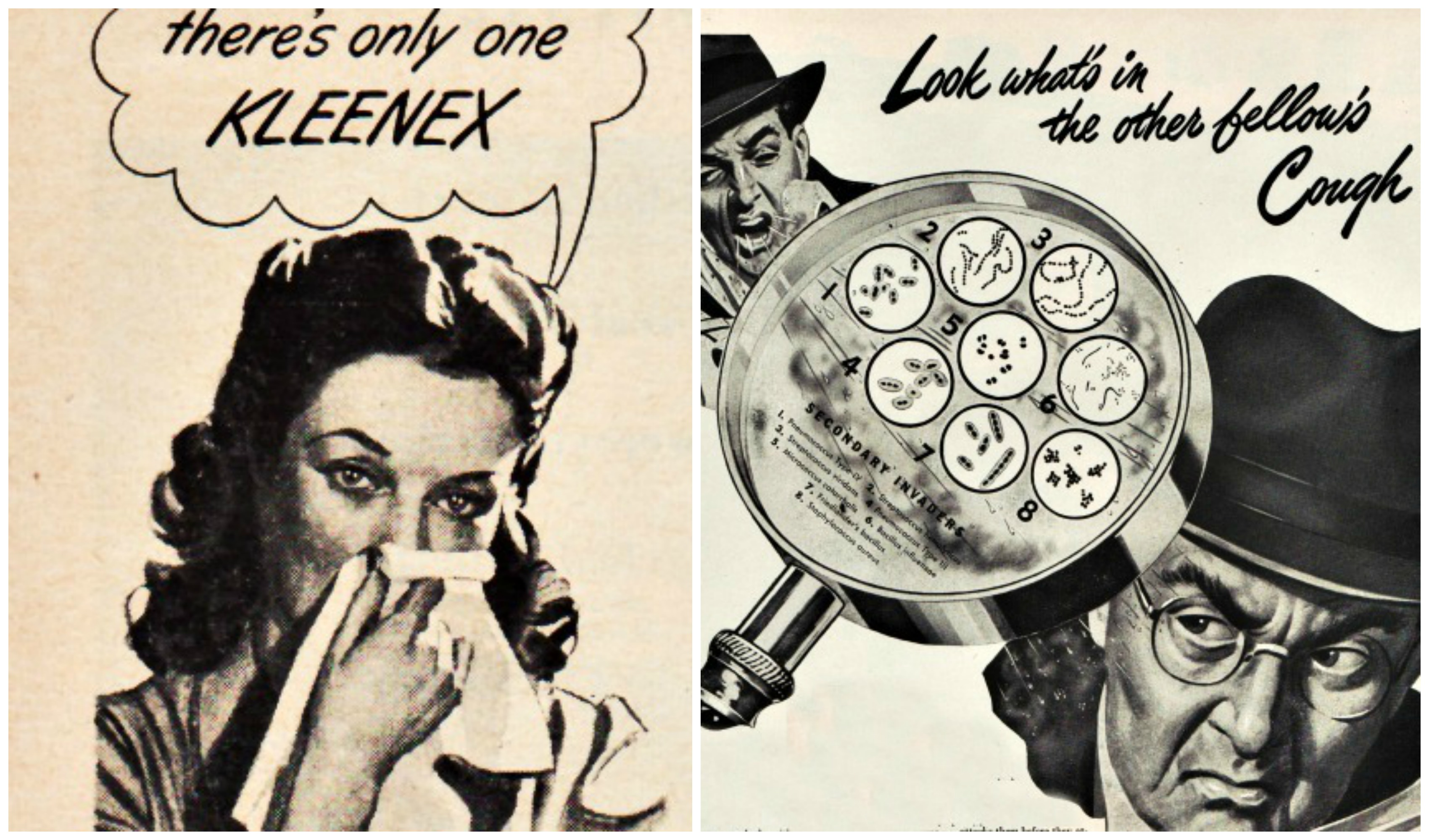 vintage illustration people with colds