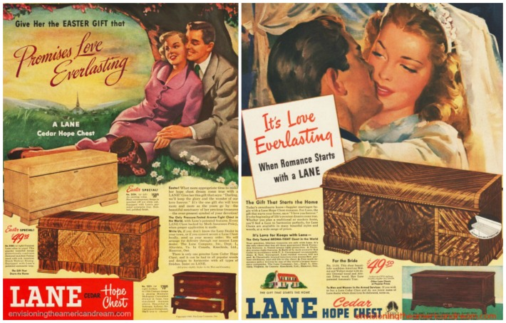 Lane Hope Chest ads illustrations of brides and couples