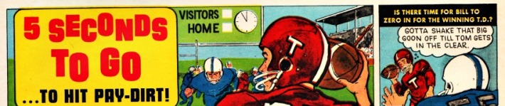 vintage cartoon illustration HS football players