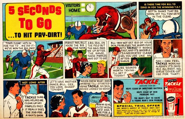 vintage ad cartoon football players HS