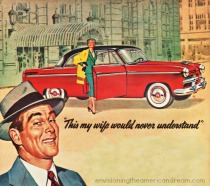 vintage illustration man car and woman