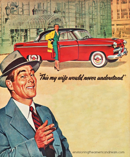 vintage illustration man, woman, car