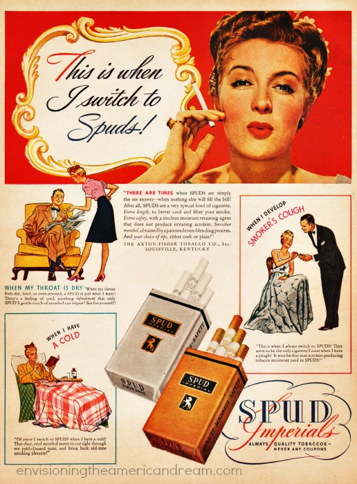 Vintage Spuds Cigarette Advertisement 1943