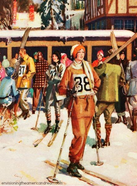 vintage illustration skiers 1930