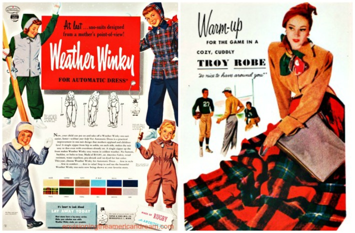 winter weather,  vintage ads lap robe, snow suits