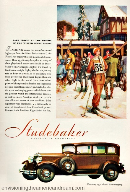 vintage illustration winter skiing car studebaker