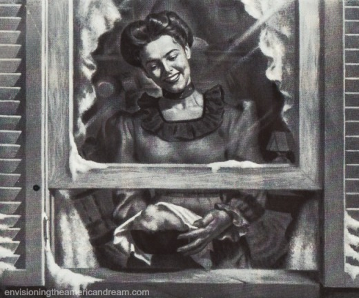vintage illustration housewife cooling pie in window