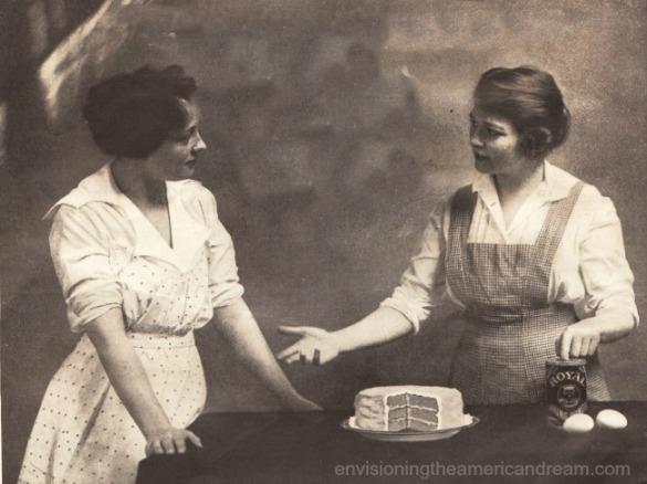 vintage photo 2 women baking cakes