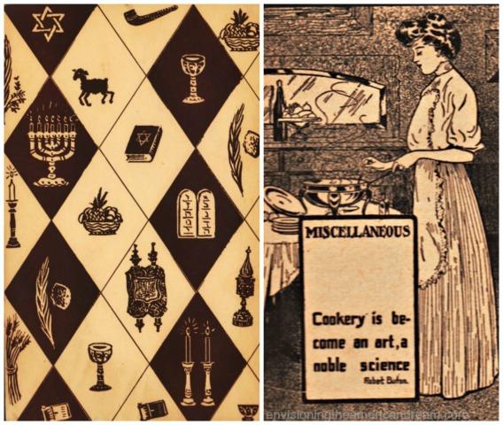 1918 illustration Jewish symbols and woman cooking