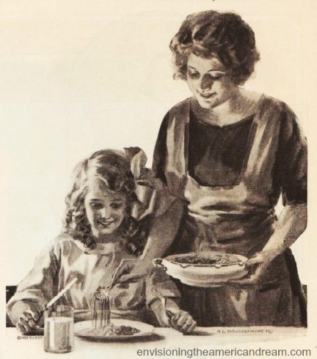 vintage illustration Mother serving daighter dinner