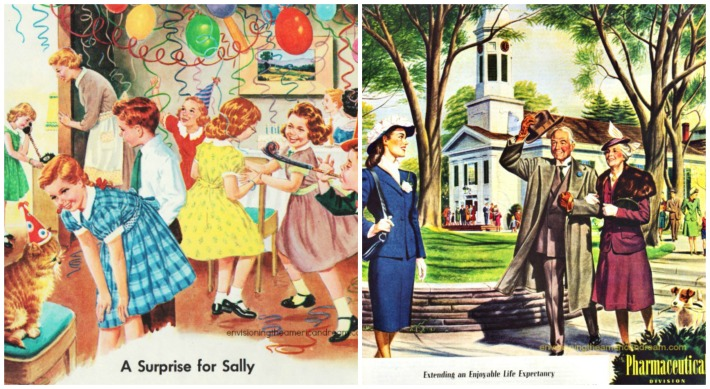 vintage illustration birthday party and old age