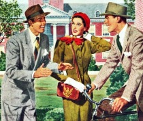 vintage illustration men and women on college campus