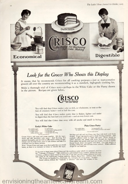 Vintage ad for Crisco 1915