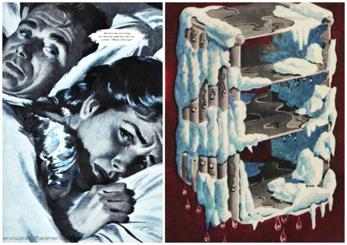vintage illustrations couple in bed and frost in freezer