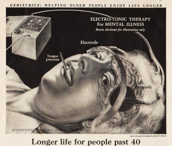 vintage illustration demonstration  electro shock thrapy