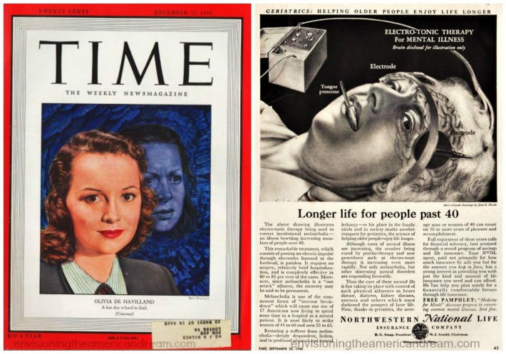 Time magazine cover Olivia D Havilland Snake Pit ad for Electro shock therapy