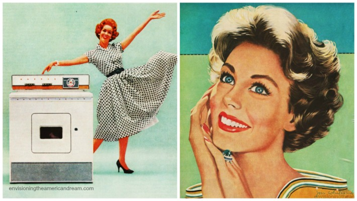 vintage images of happy Housewife