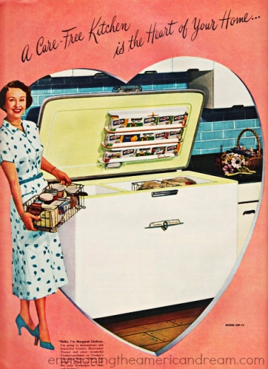 vintage ad kitchen freezer housewife