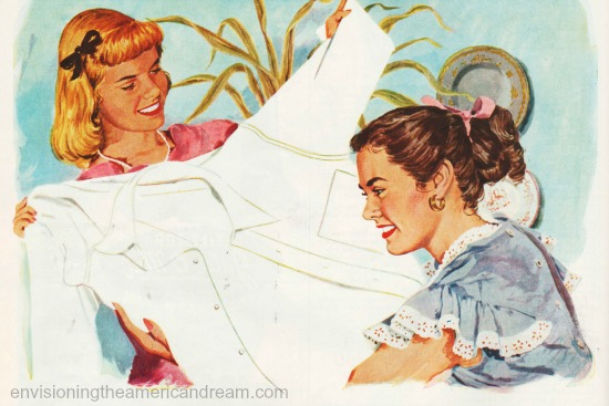 vintage illustration housewives laundry Oxydall