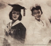Vintage ad 1948 College graduate and bride