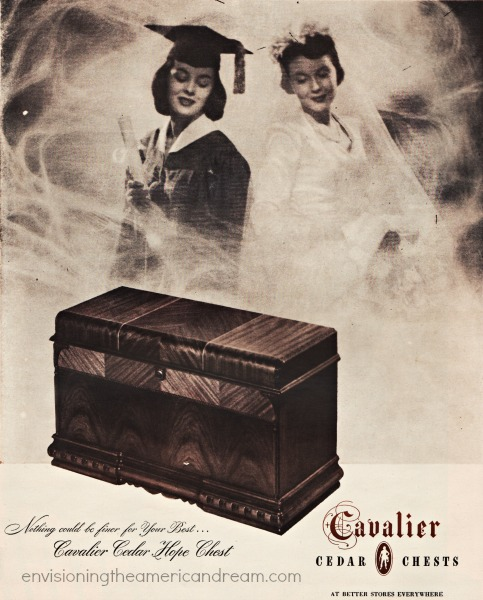 Vintage ad college graduate and bride 1940s
