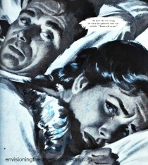 vintage illustration couple in bed