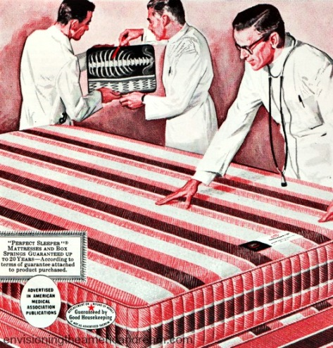 vintage ad illustration doctors and mattress