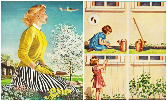 vintage illustration woman gardening  and children planting