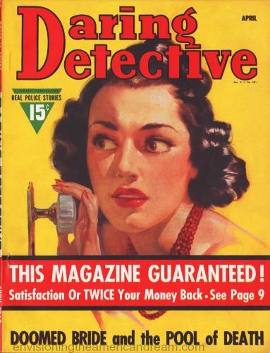 pulp magazine cover 1940s daring detective illustration woman