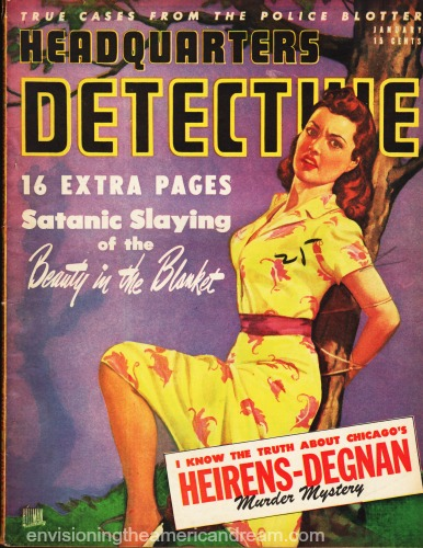 pulp magazine cover headquarters detective illustration woman tied to tree