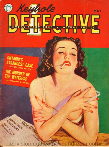 vintage  magazine keyhole detective illustration woman smoking