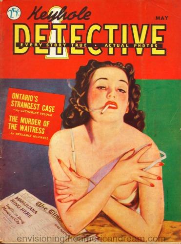 vintage  magazine keyhole detective illustration woman smoking