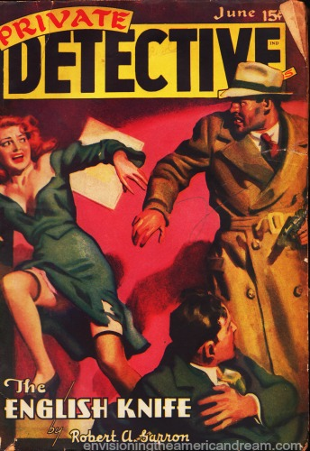 1940s pulp magazine cover private detective illustration