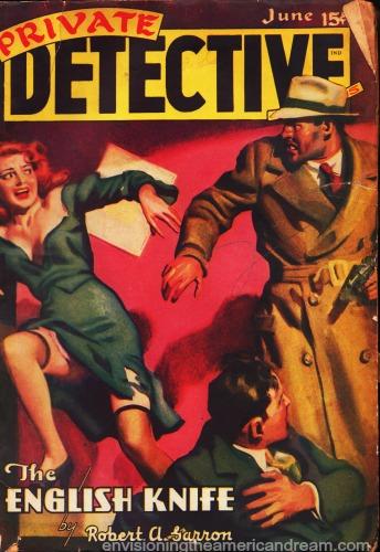 1940s pulp magazine cover private detective illustration