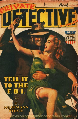 pulp fiction magazine cover private detective illustration man fighting woman
