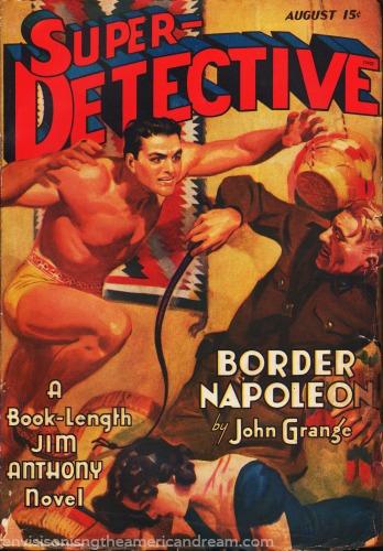 pulp magazine cover  super detective illustration  2 men fighting