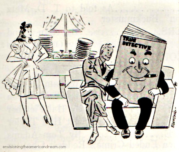 "Vintage cartoon ""True Detective"" magazine September 1941"