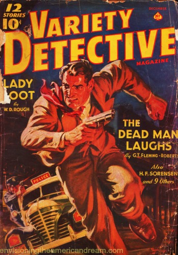 "pulp fiction magazine cover"" variety detective"" illustration cop chasing man with gun"