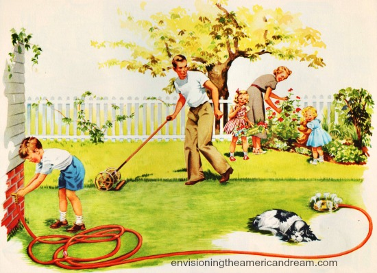 vintage illustration American family in yard gardening