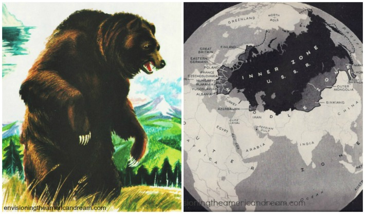 Vintage illustration bear and map of USSR