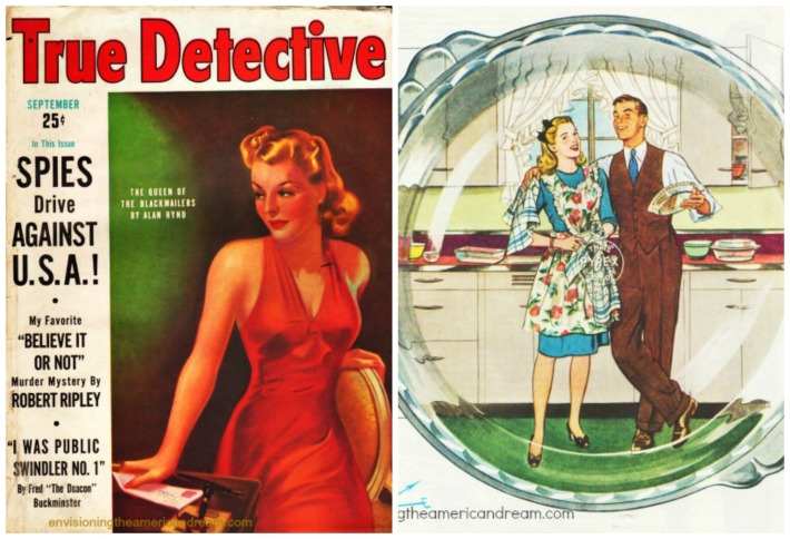 Vintage cover True Detective Magazine illustration of couple in kitchen washing dishes