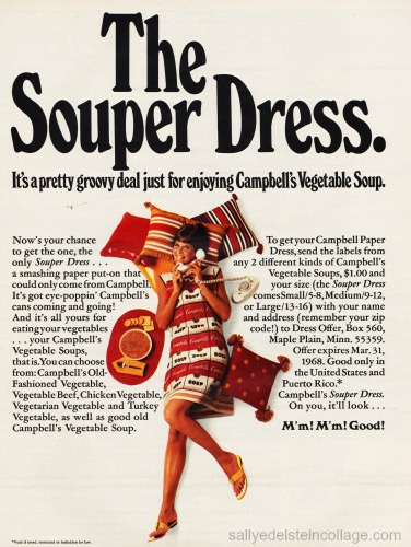 "Vintage Campbells Soup Ad ""The Souper Dress"" 1968"