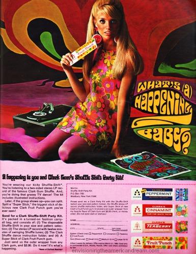 1968  clarks gum ad 1960s groovy girl