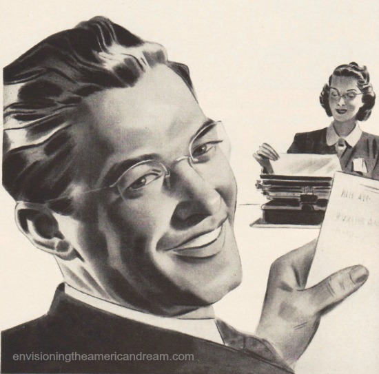 illustration boss and typist secretary